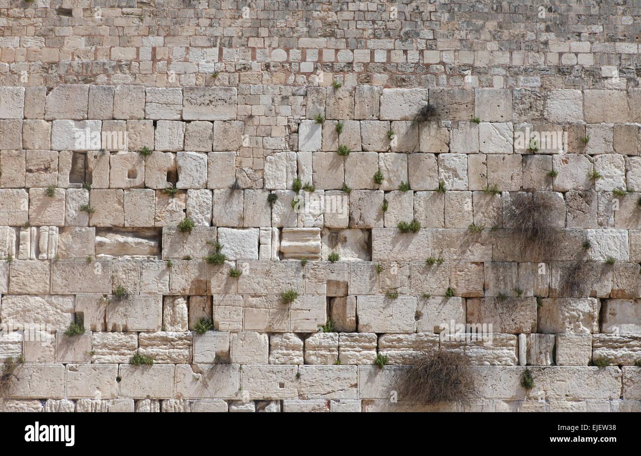 Stones of the Wailing wall, Jerusalem, Israel. - Stock Image