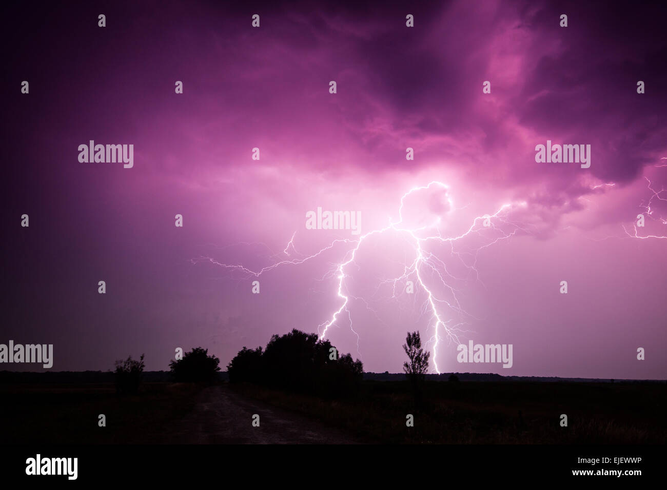 clouds and thunder lightnings and storm in Hungary - Stock Image