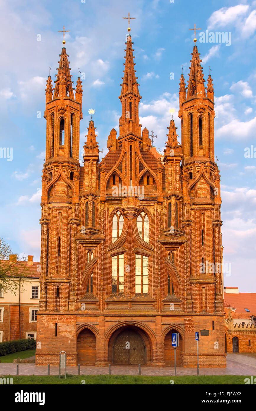 Facade of Saint Anne's church at  sundown light in Vilnius, Lithuania. - Stock Image