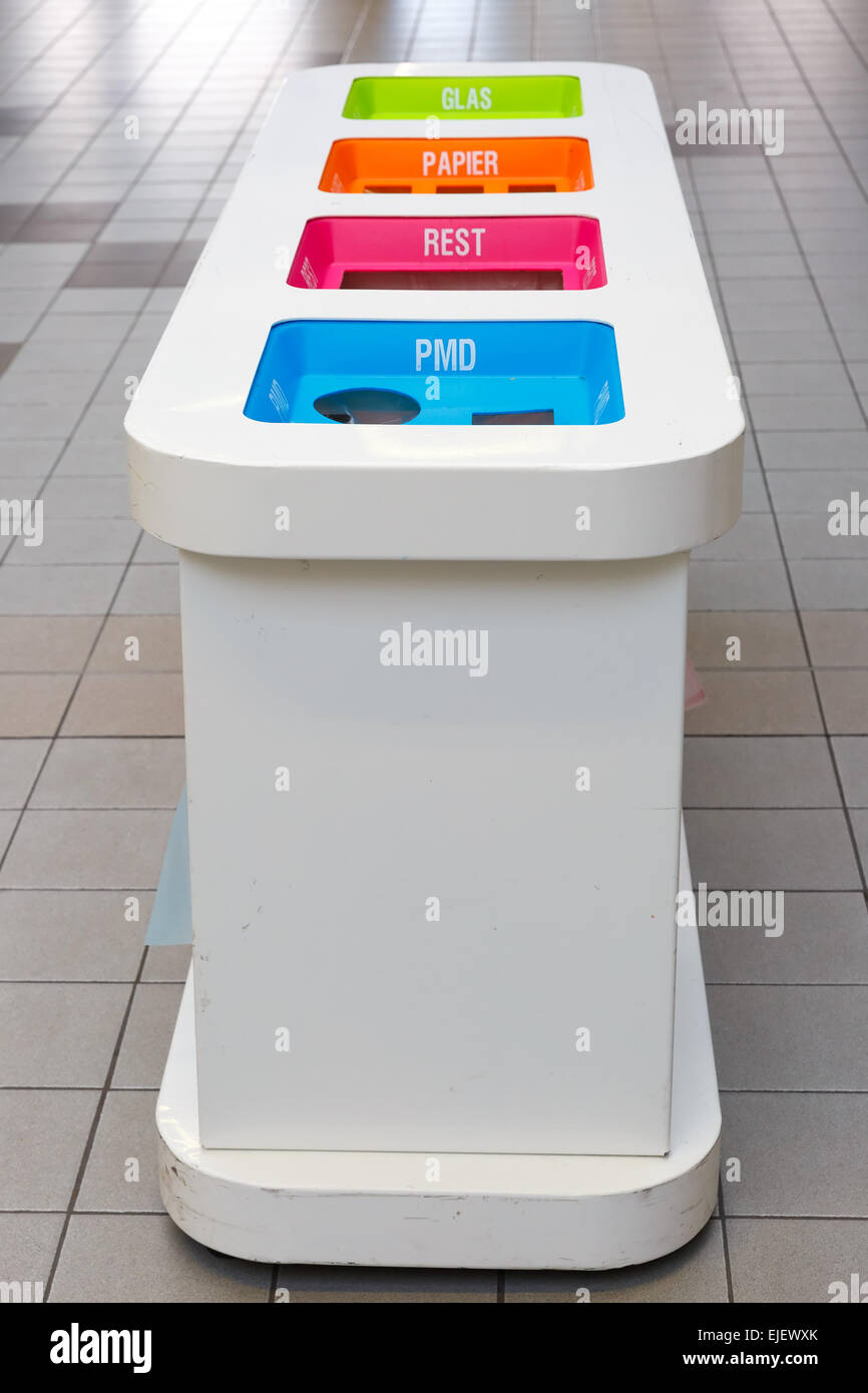 Waste sorting bins - Stock Image