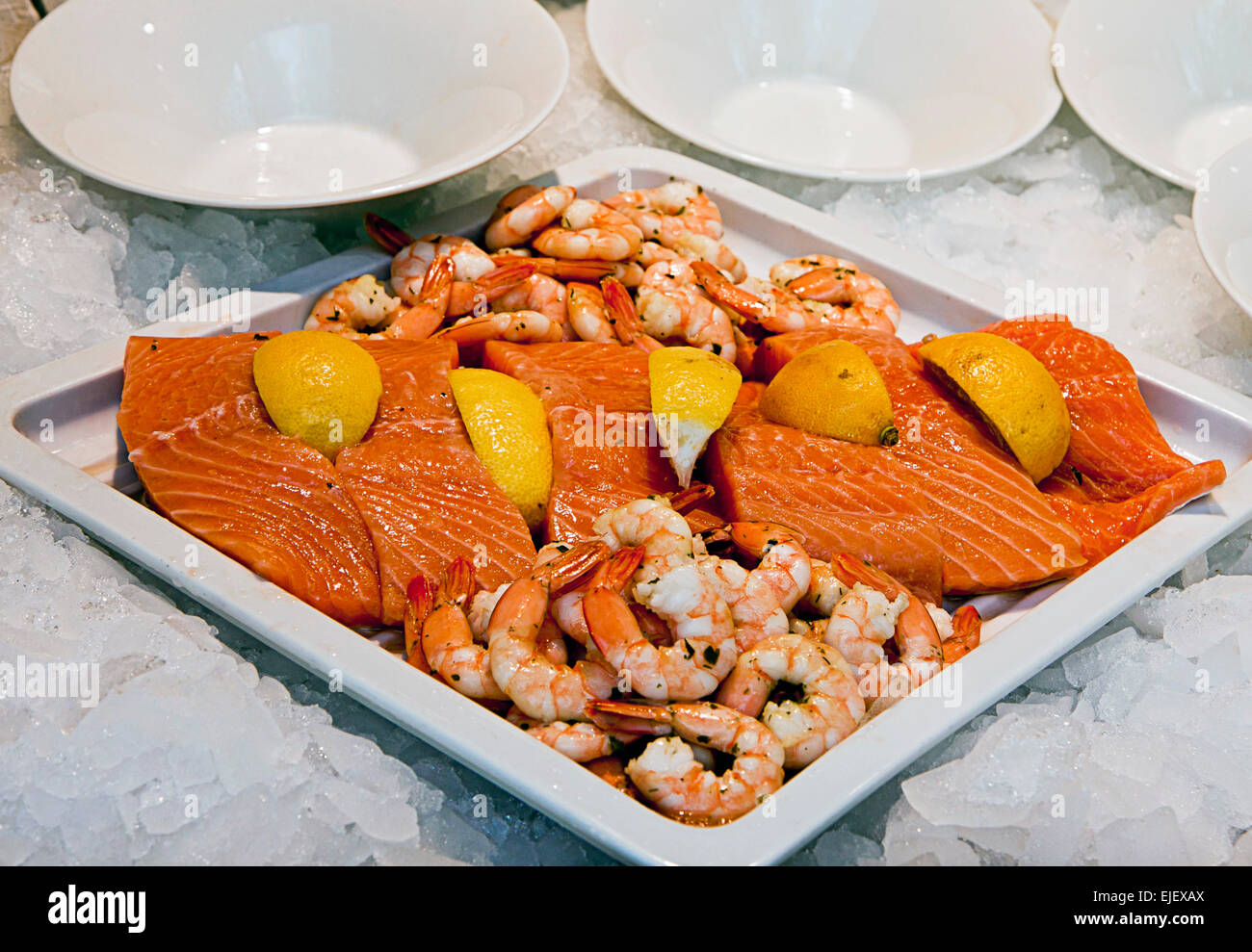 Big Tray With Raw Smoked Salmon Slices Cut And Peeled Shrimps And Stock Photo Alamy