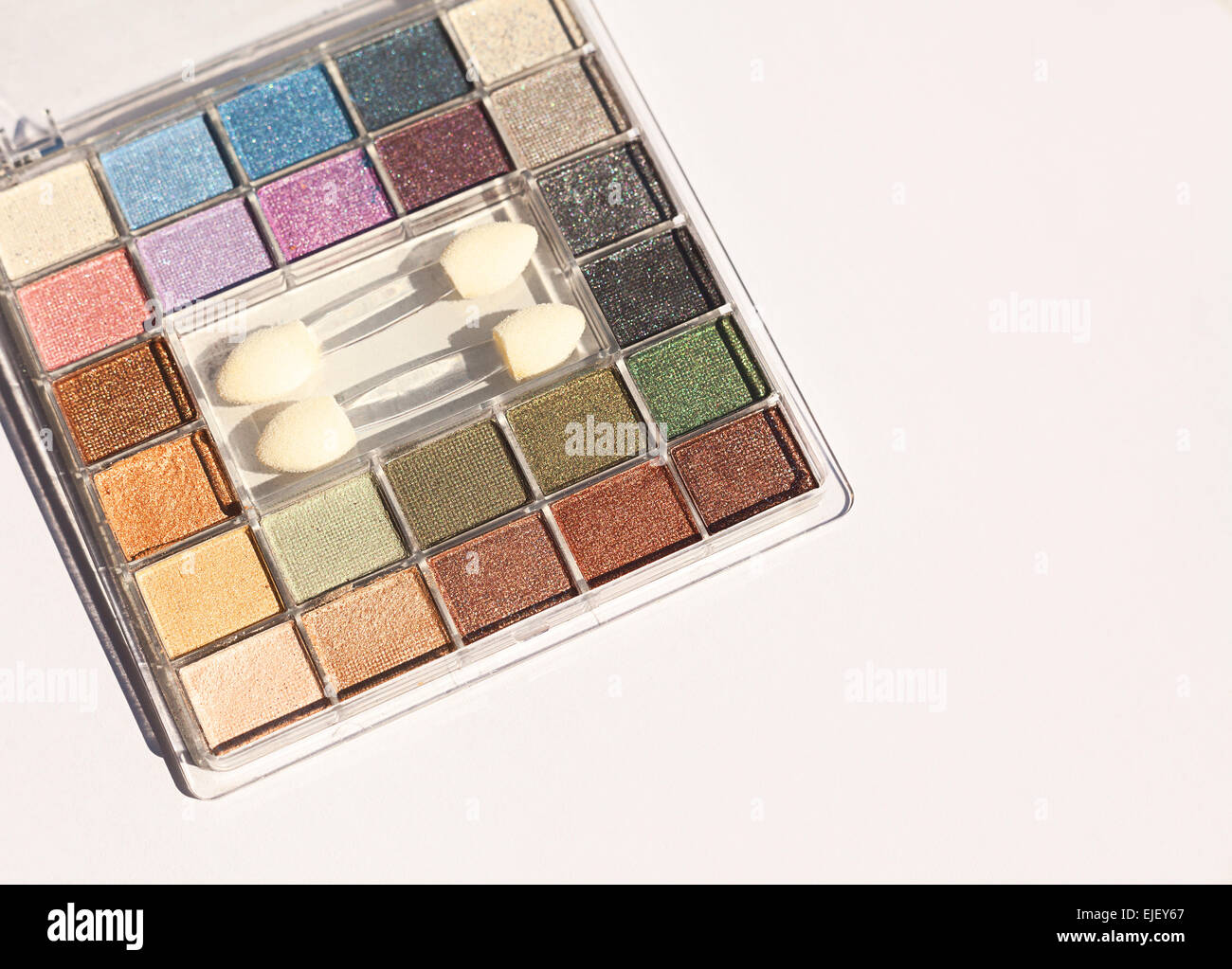 Eyeshadow in various colors, modern makeup. - Stock Image