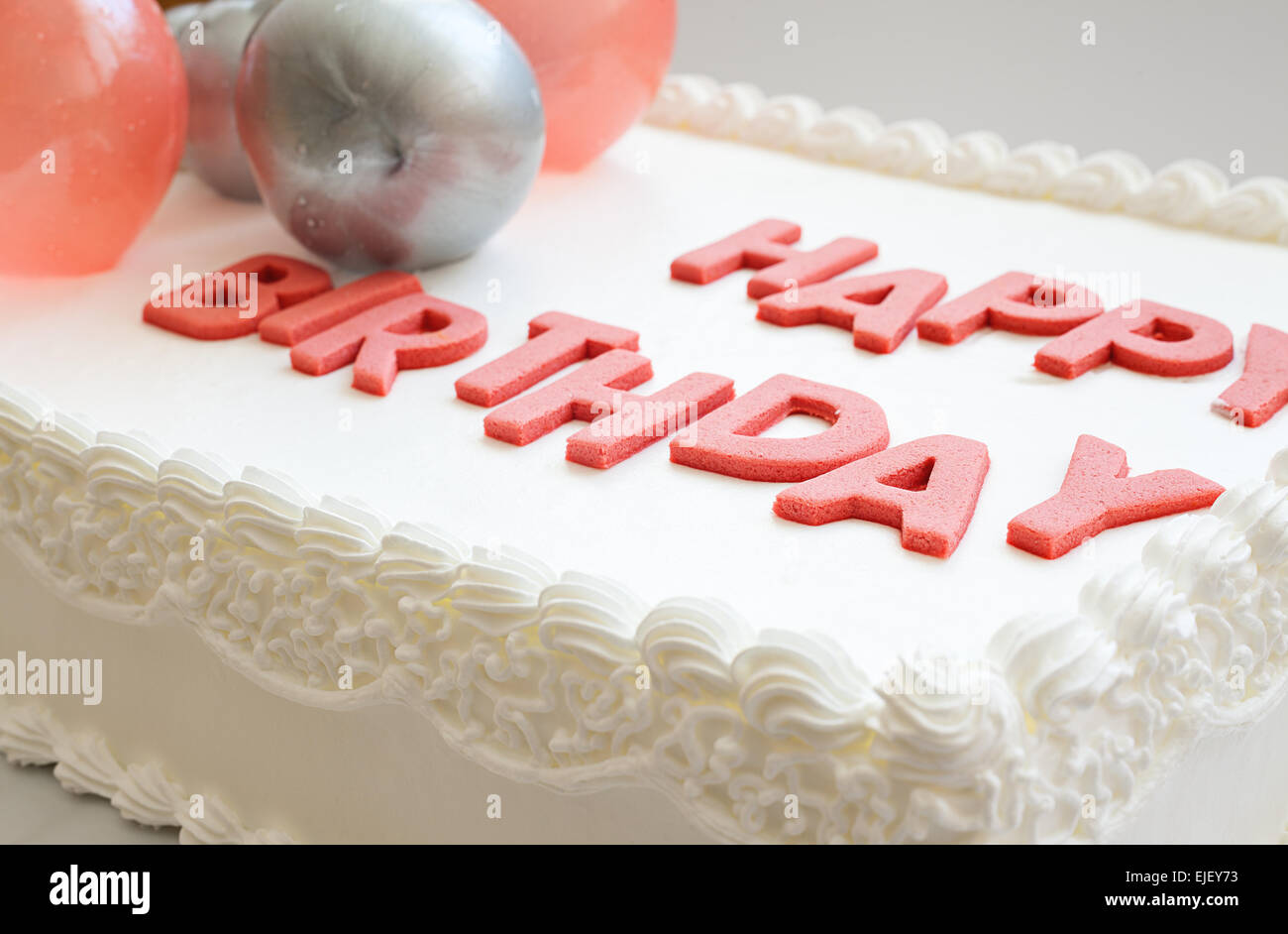 Details Of A Happy Birthday Cake On White Background Stock Photo
