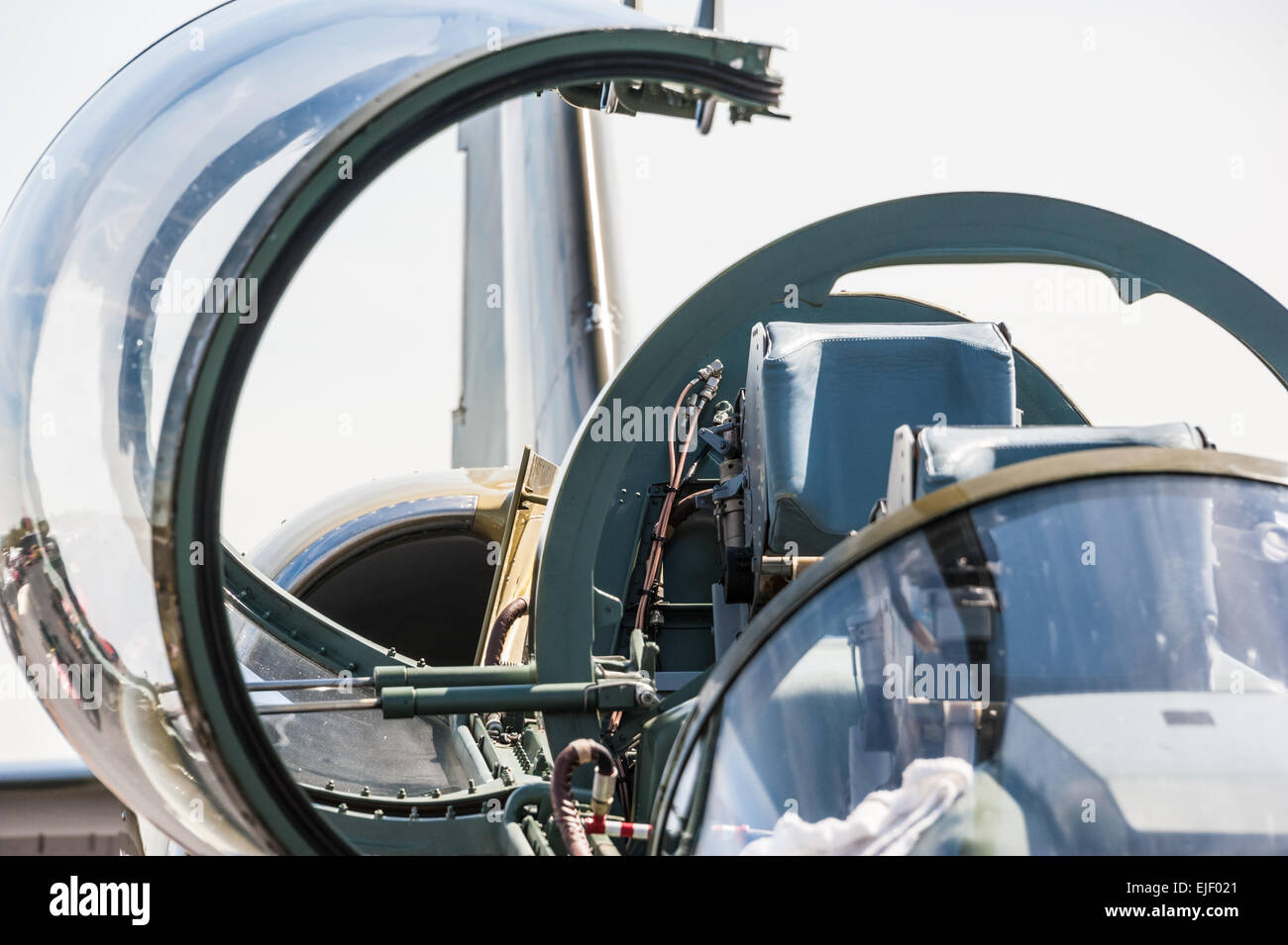 Cockpit of Russian fighter jet. - Stock Image
