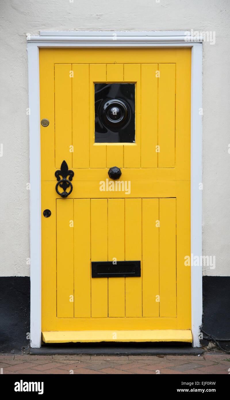 Yellow Cottage Front Door. UK