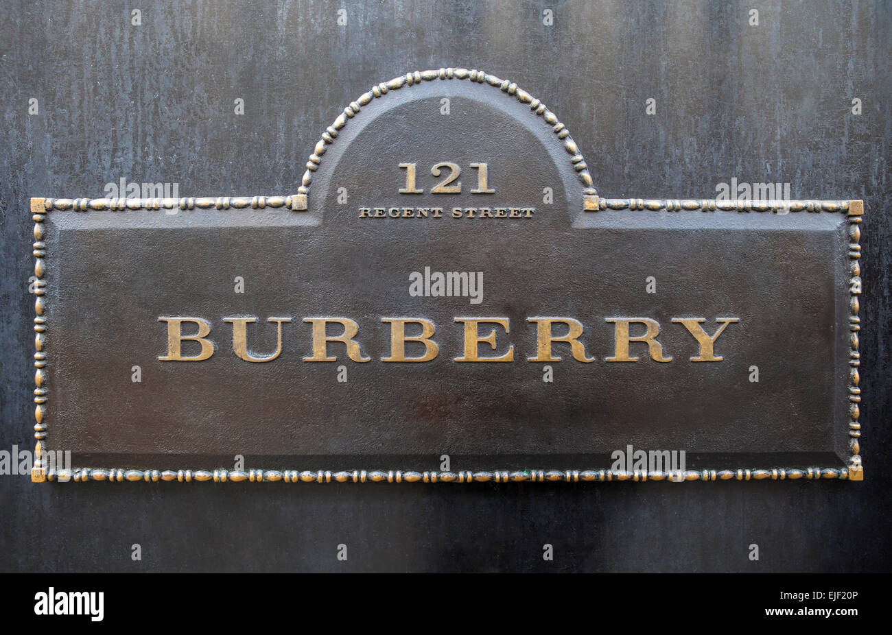 LONDON, UK - MARCH 22ND 2015: A sign for the Burberry clothing store on Regent Street in London on 22nd March 2015. - Stock Image