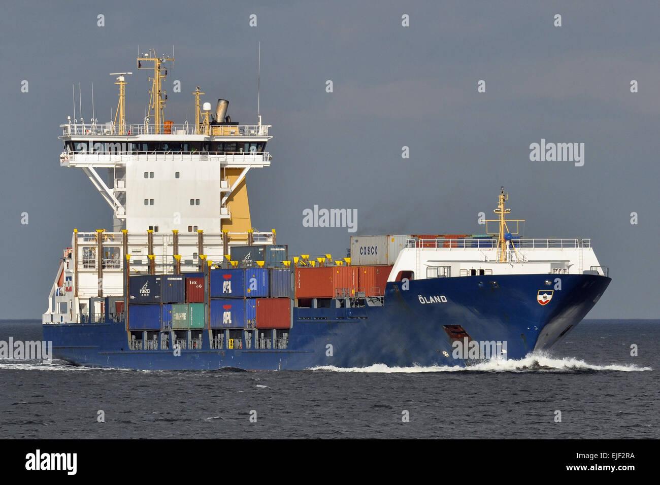 Feedervessel Öland inbound Kiel Fjord - Stock Image
