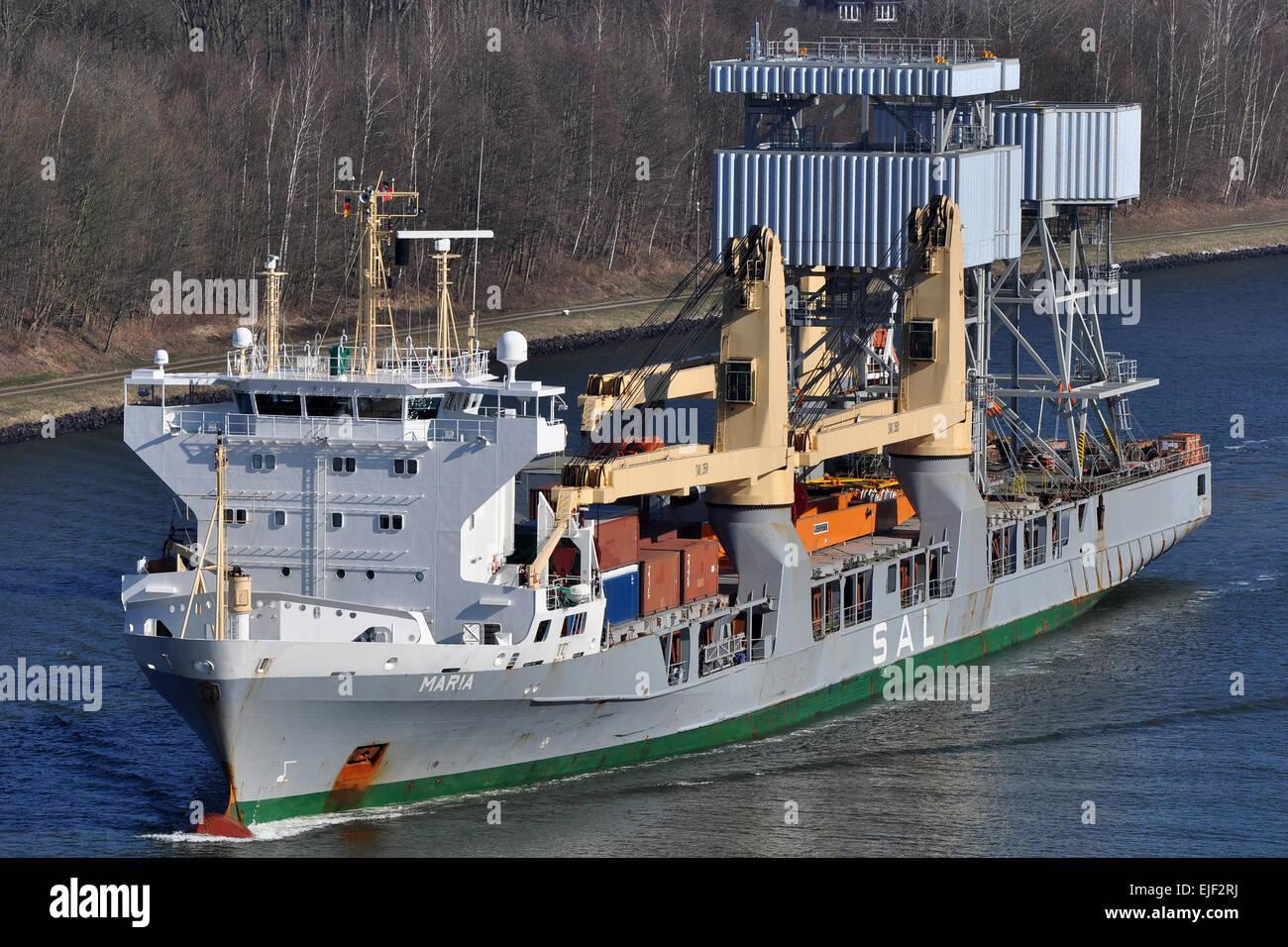Heavy Lift vessel Maria passing the Kiel-Canal. - Stock Image