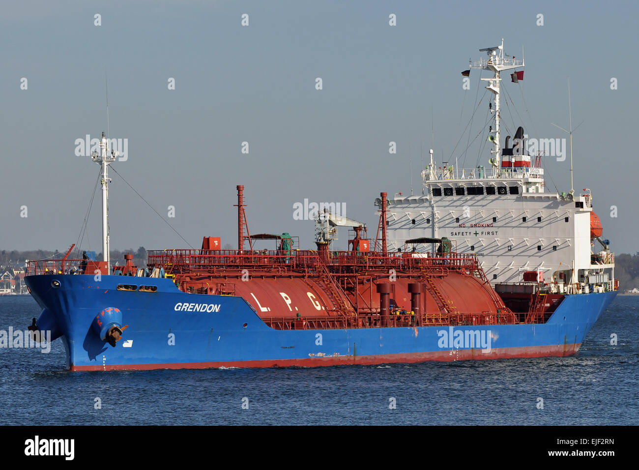 LPG-Carrier Grendon entering Holtenau locks in Kiel - Stock Image