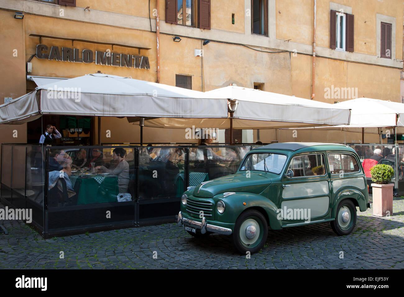 Old Fiat van in the Trastevere district in Rome - Stock Image