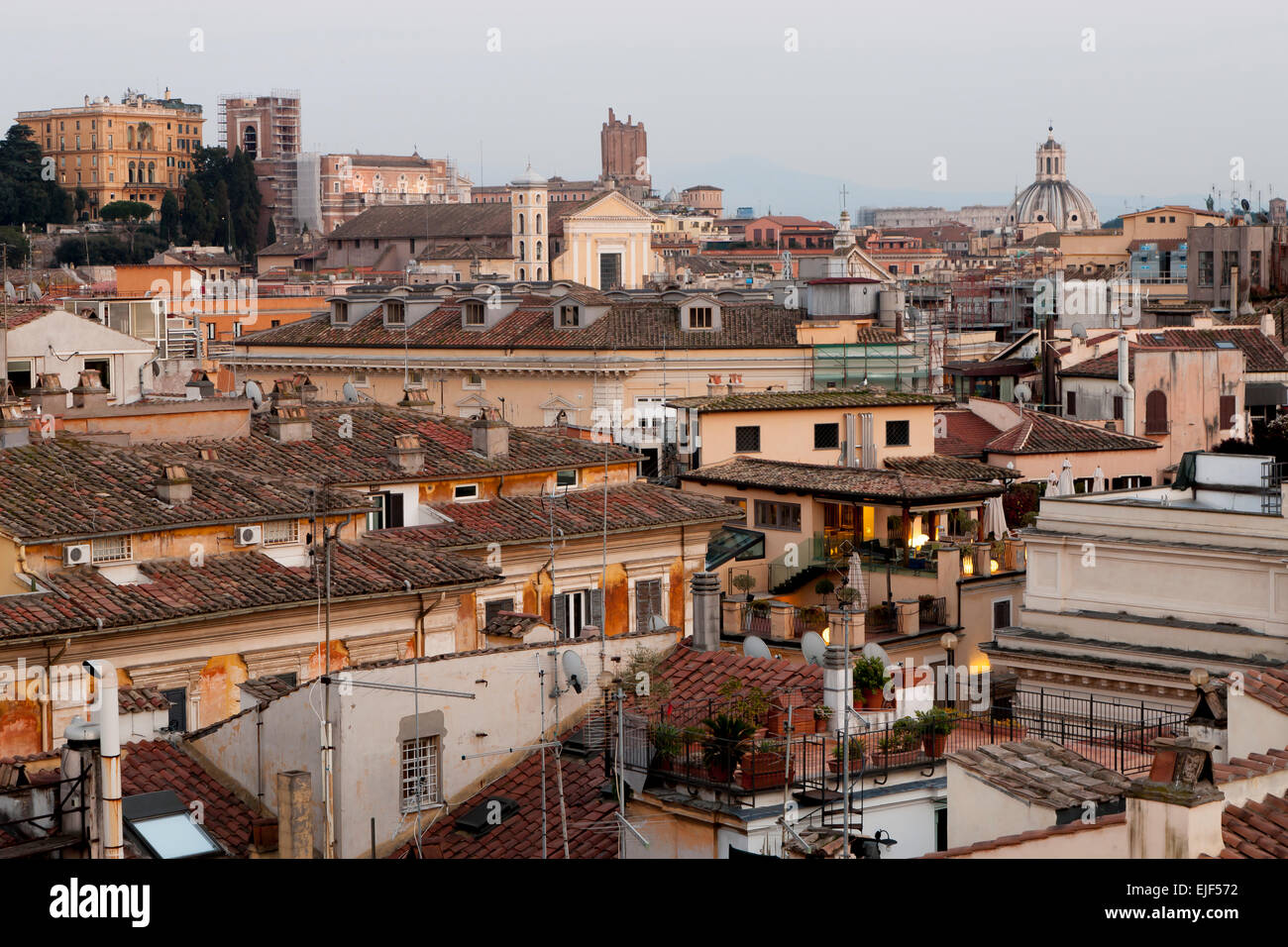 View to the rooftops of Rome Italy from the roof of the Hotel Colonna Palace - Stock Image