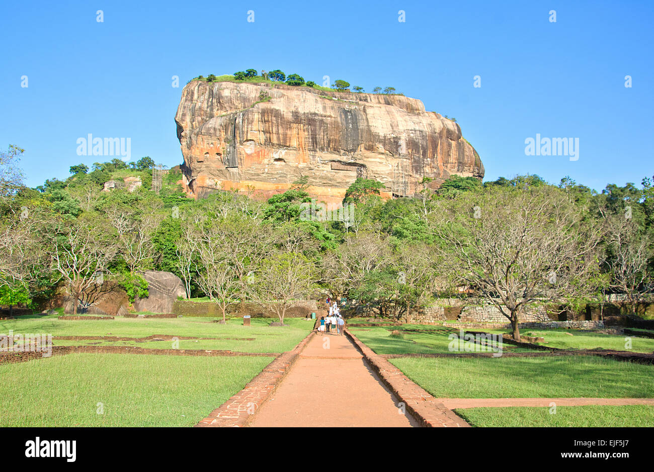 Sigiriya Rock Fortress 5th Centurys Ruined Castle That Is Unesco Listed As A World Heritage Site In Sri Lanka - Stock Image