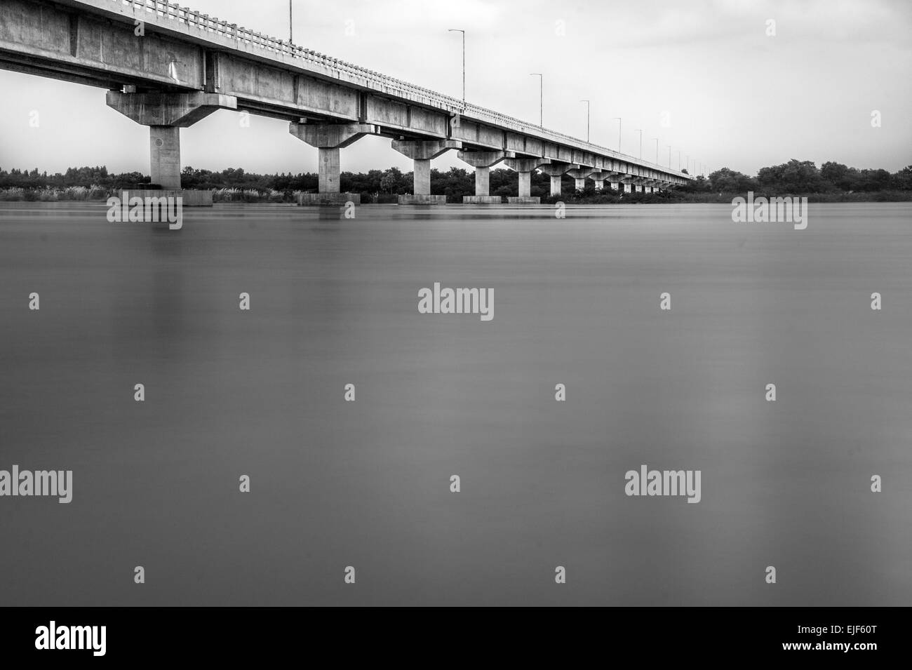 Bridge over Krishna river, Repalle, Andhra Pradesh, India - Stock Image