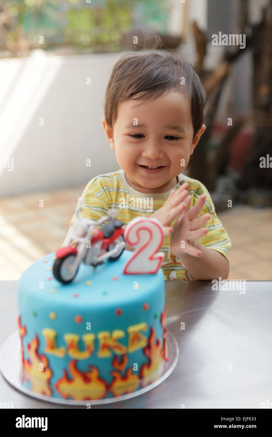 Astounding Delighted Toddler Boy Clapping After Blowing Out The Candle On His Personalised Birthday Cards Sponlily Jamesorg