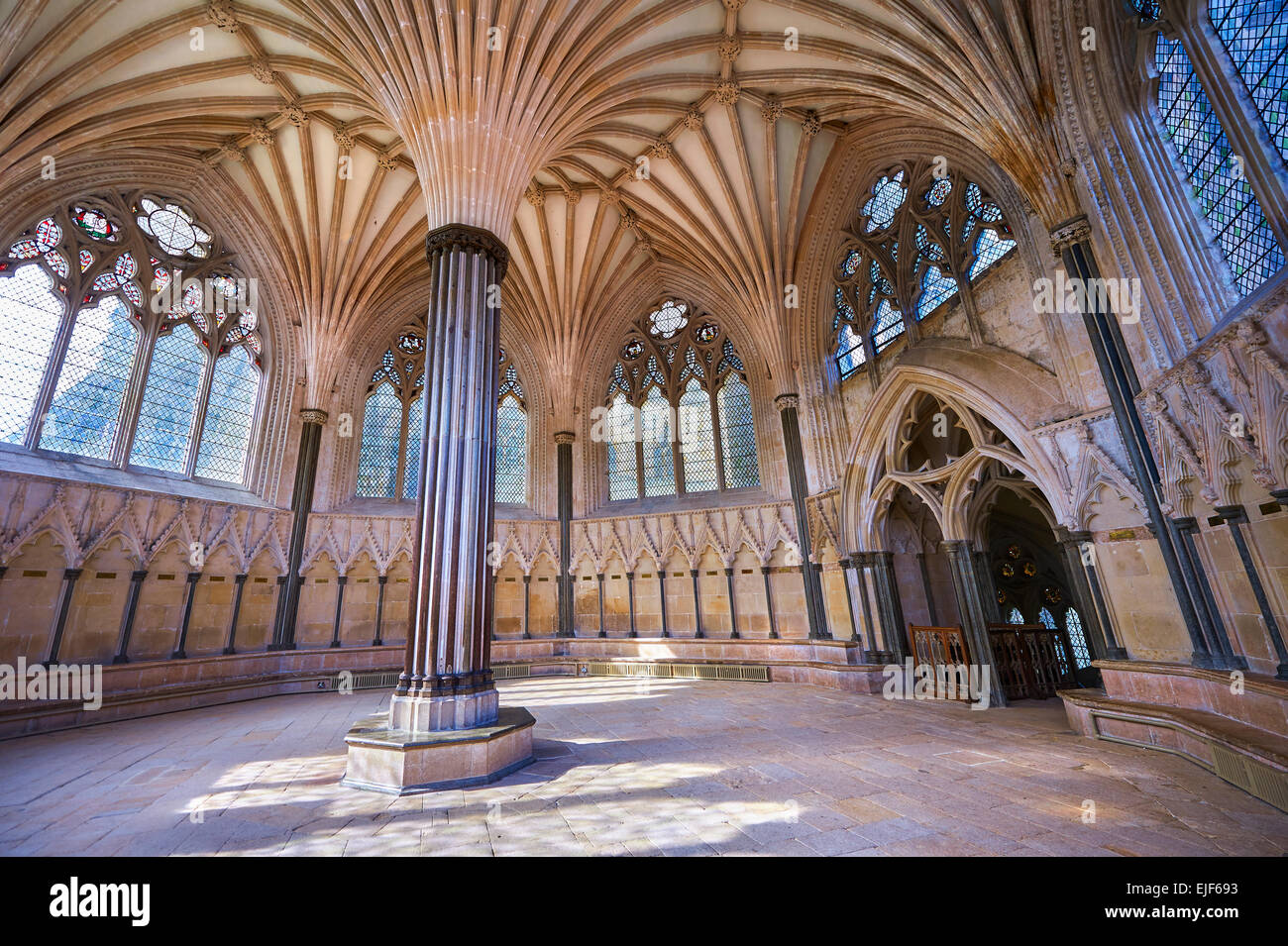 The Vaulted Ceiling Of Chapter House Medieval Wells Cathedral Built In Early English Gothic Style 1175
