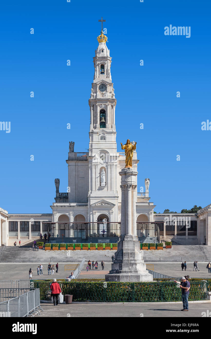 Sanctuary of Fatima, Portugal. Basilica of Our Lady of the Rosary and the Sacred Heart of Jesus Monument. - Stock Image