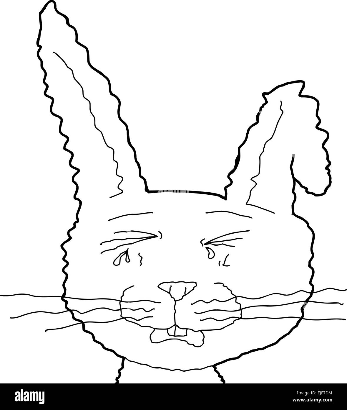 Outlined crying rabbit cartoon with bent ear - Stock Image