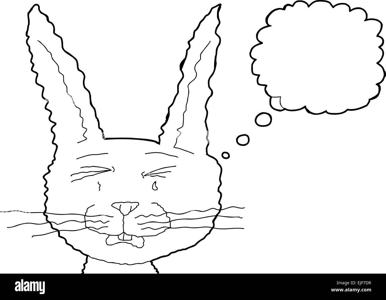 Sad outlined fuzzy cartoon bunny rabbit with tears - Stock Image