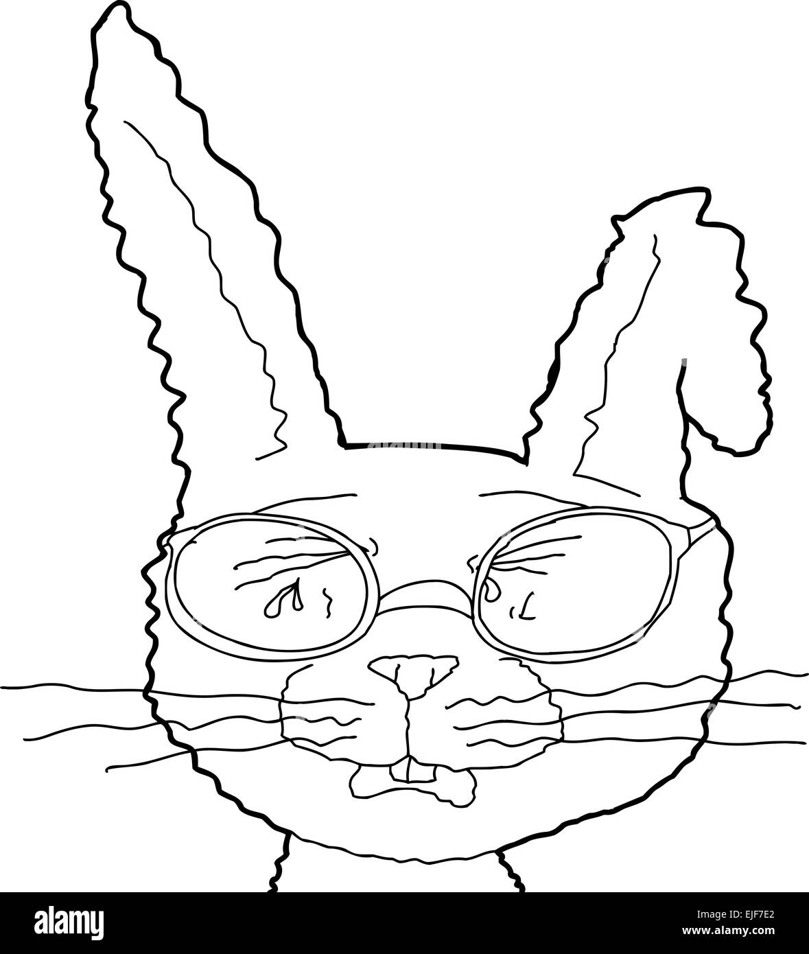 Depressed cartoon bunny with eyeglasses and bent ear - Stock Image