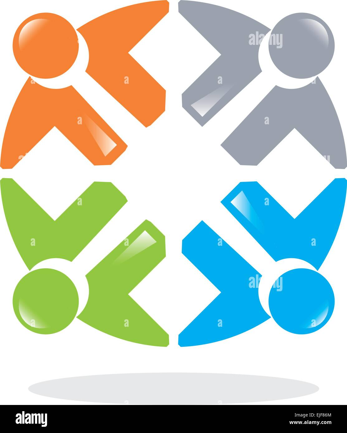 Teamwork, cooperation and people. People Connected Symbols. Stock Vector