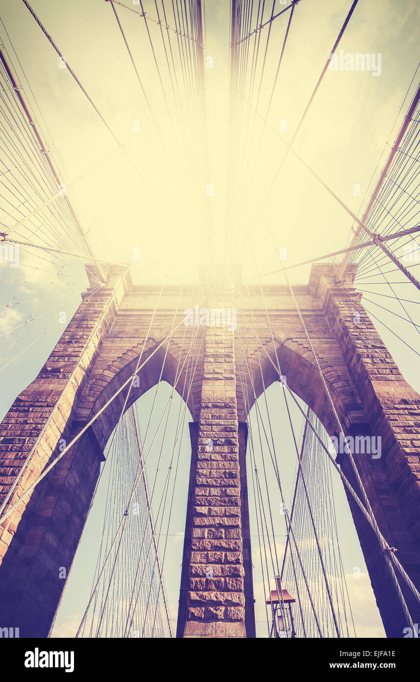 Vintage filtered picture of Brooklyn Bridge in New York City. - Stock Image