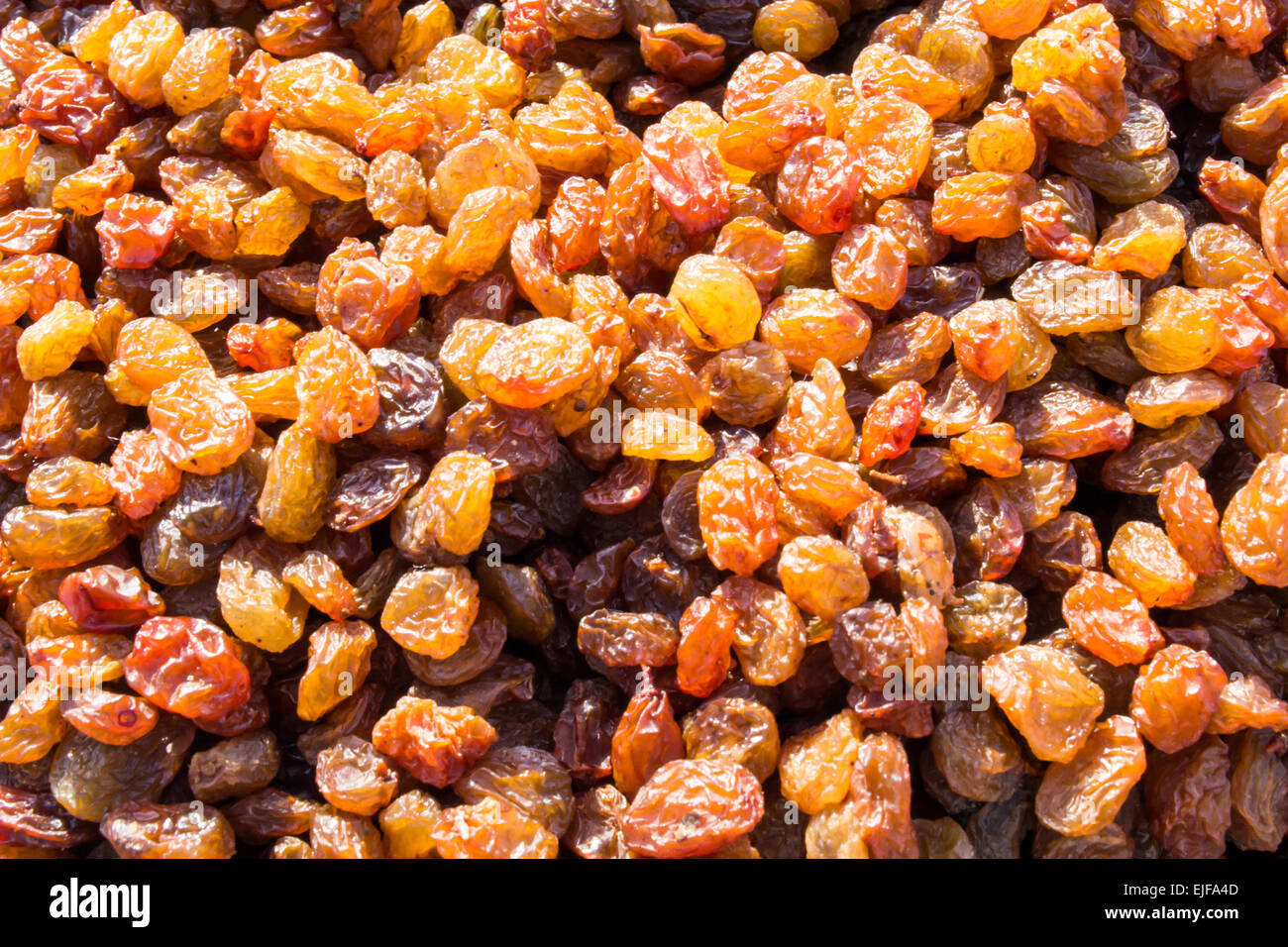 Fresh sultanas at a local shopping market stall in Russia - Stock Image