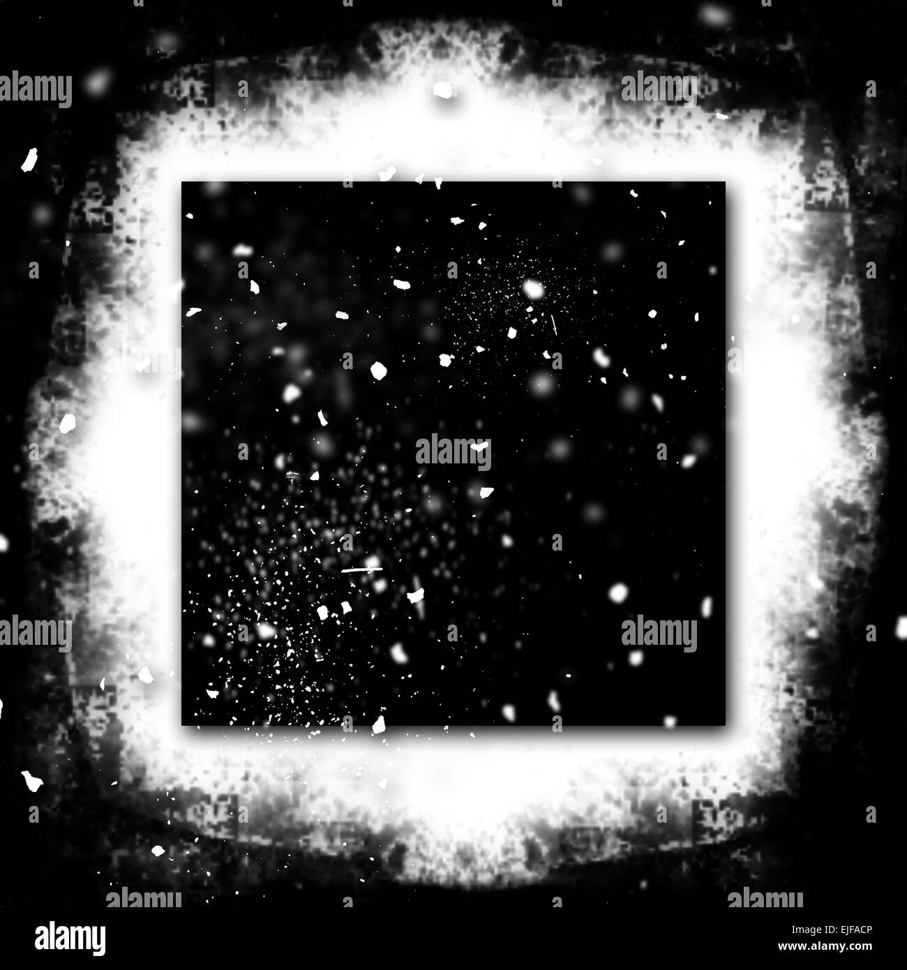 Exploding Grunge Photo Frame Black and White Particles - Stock Image