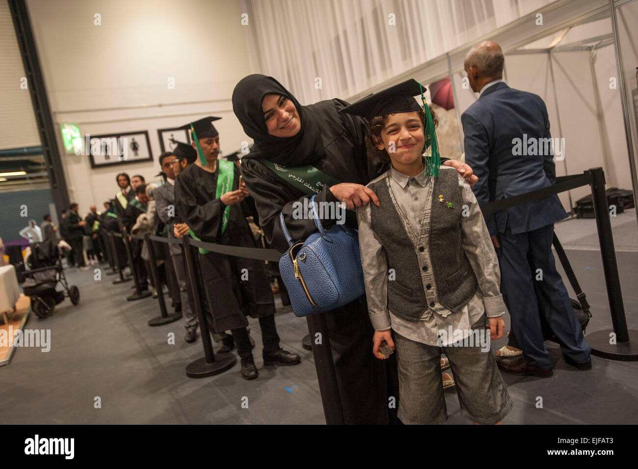 Queuing for their graduation snap Saudi Arabian nationals at The