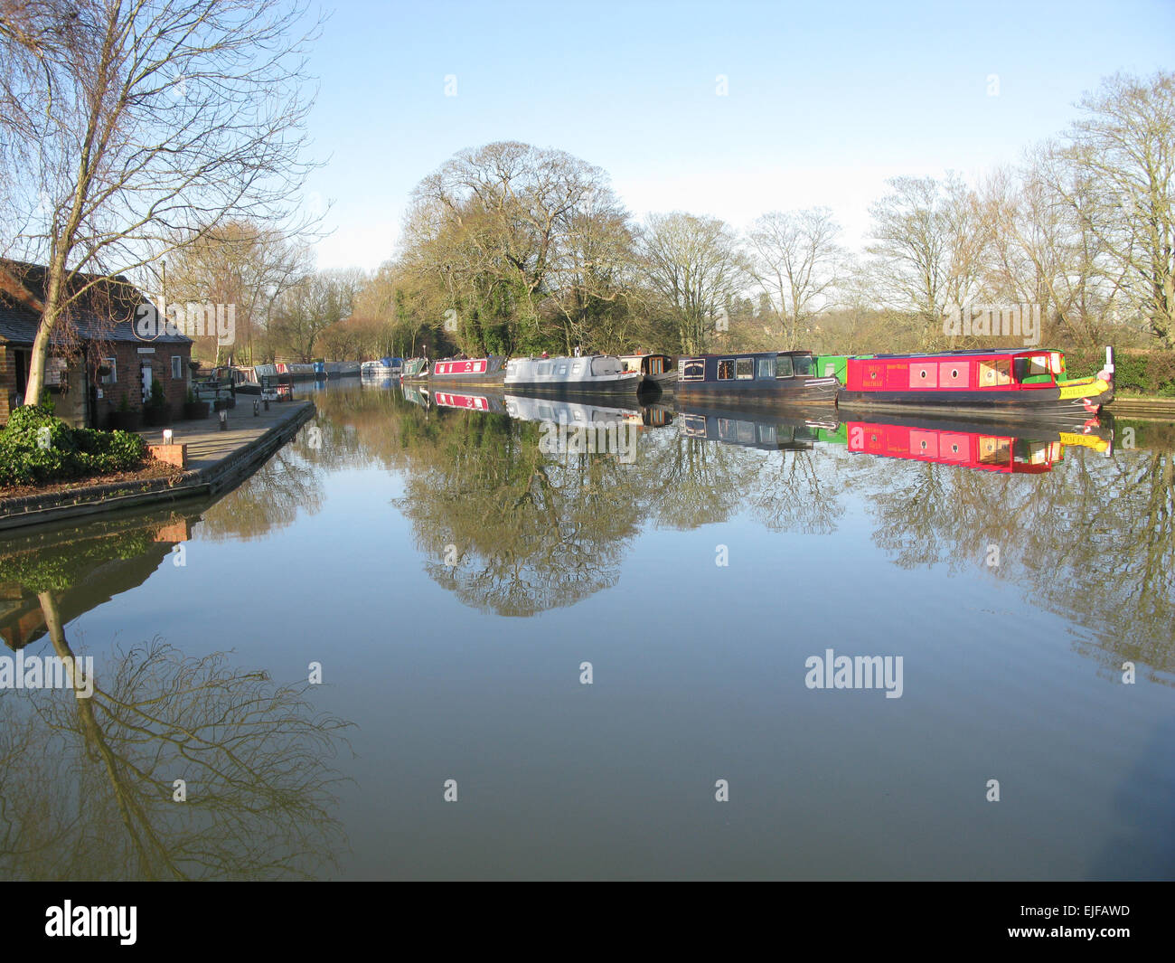 Oxford Canal with Narrow Boats - Stock Image