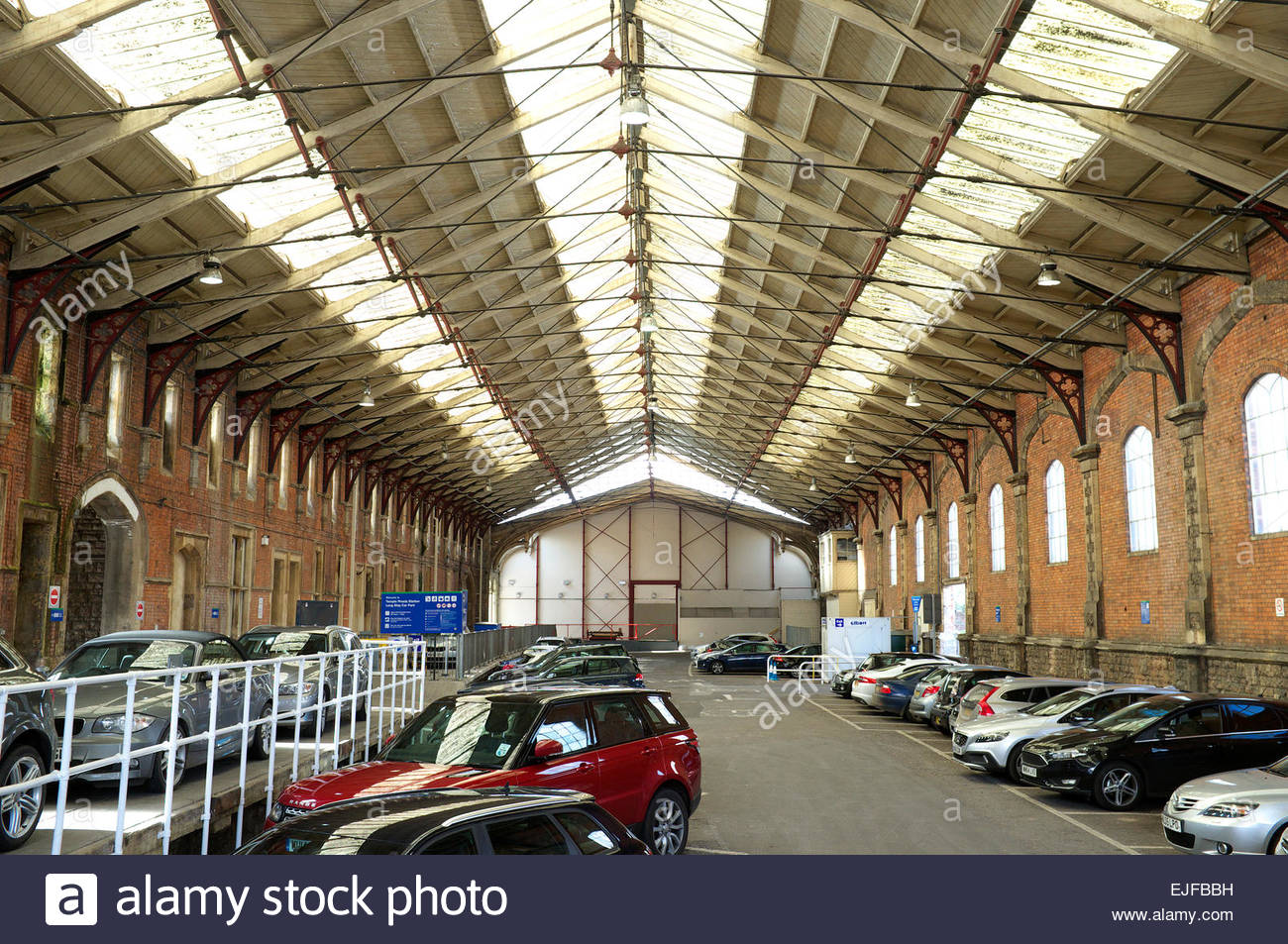 Inside the original Temple Meads railway station, showing the extended train shed section, Bristol, UK. Stock Photo