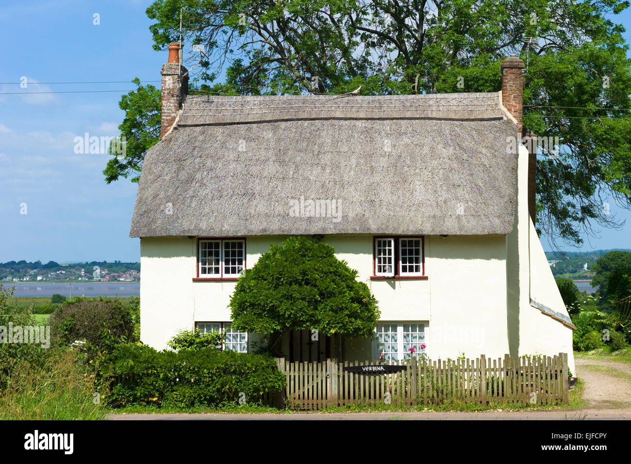 Typical quaint country cottage home at Powderham in South Devon, England, UK - Stock Image