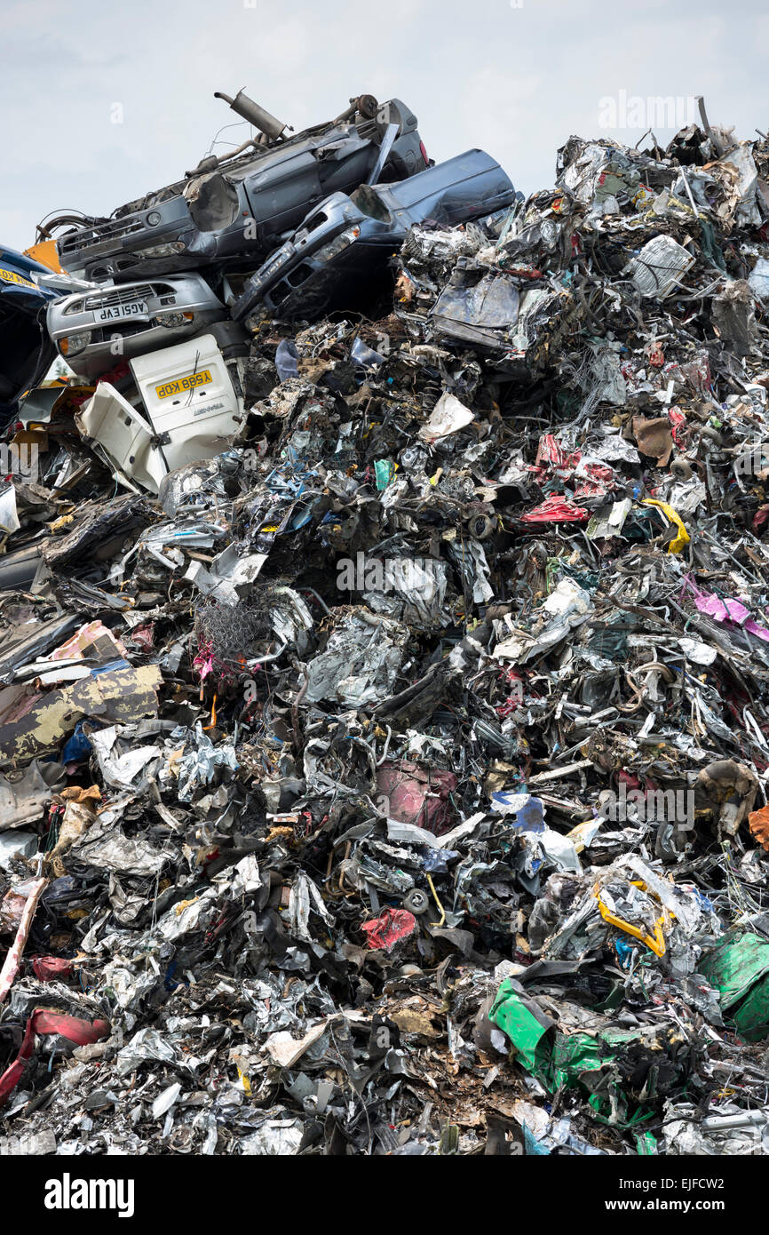 Metal recycling of cars, autos and scrap metal to avoid environmental pollution in England Stock Photo