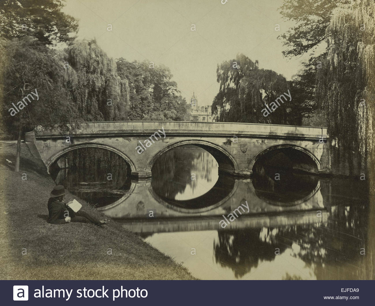 Circa 1870 Albumen Print of the Bridge over the River Cam at Cambridge University, England. Shows man in a Bowler - Stock Image