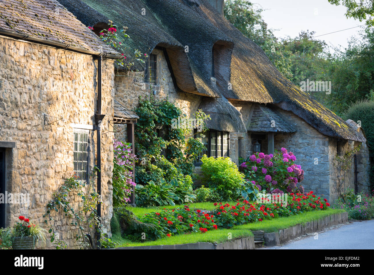 Quaint attractive traditional thatched country cottage at Broad Campden in the Cotswolds, Gloucestershire, England, - Stock Image