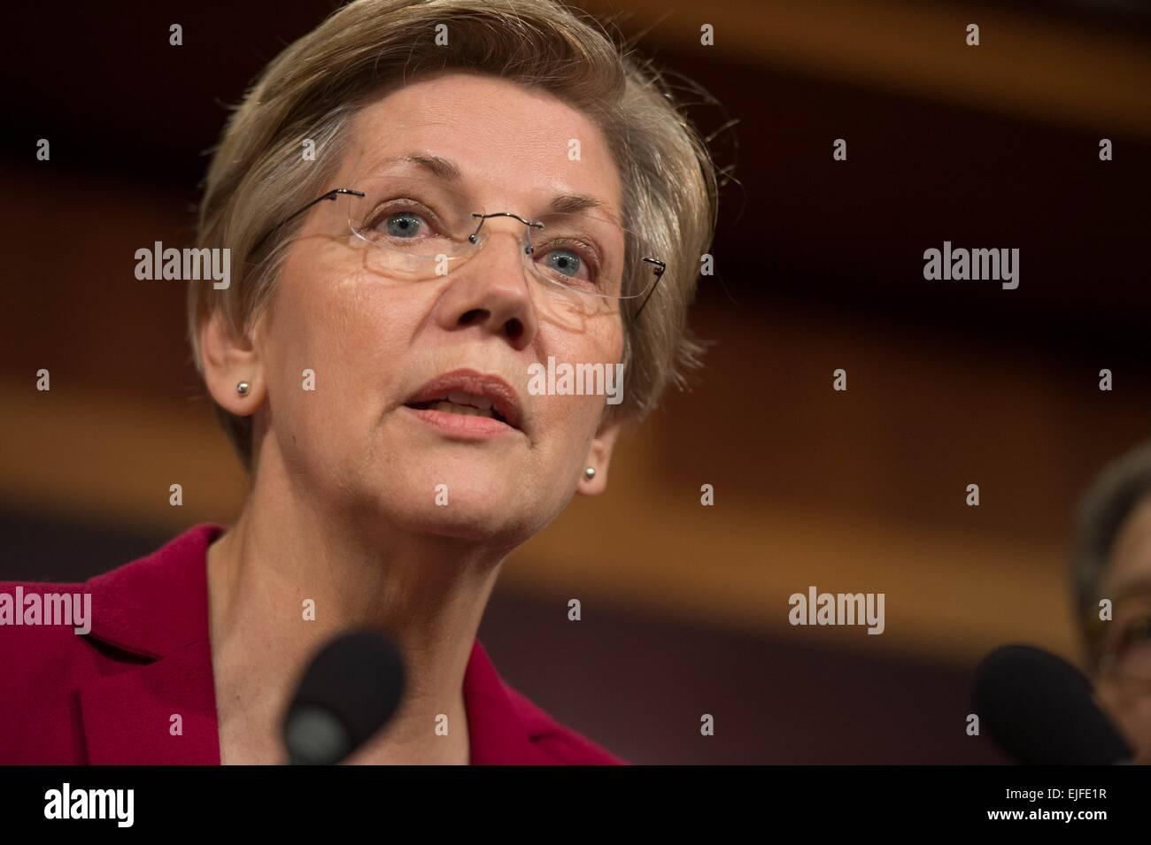 US Senator Elizabeth Warren comments on the Senate Republican budget which will eliminate the Federal Consumers Stock Photo