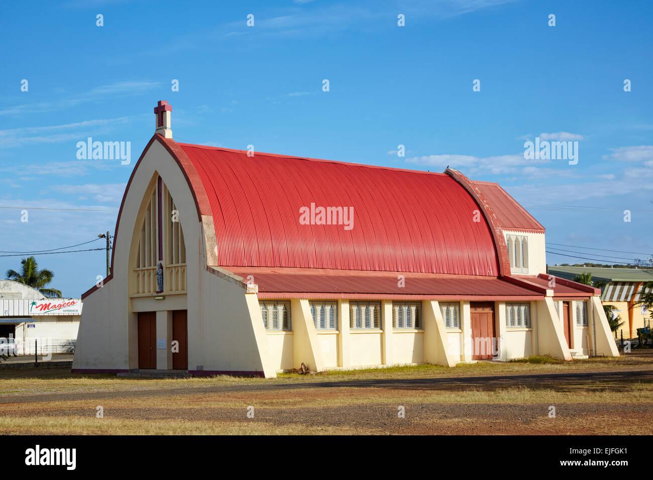 Church (Eglise Ste Jeanne d'Arc) made out of World War II arcraft hangar, Koumac, New Caledonia Stock Photo