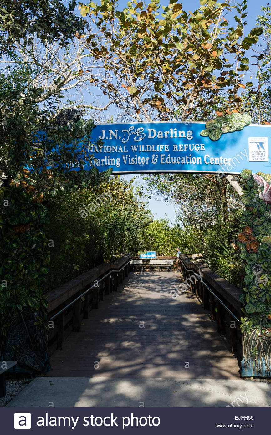 Gateway to the Visitors Center at J.N. Ding Darling National Wildlife Refuge in Sanibel, Florida - Stock Image