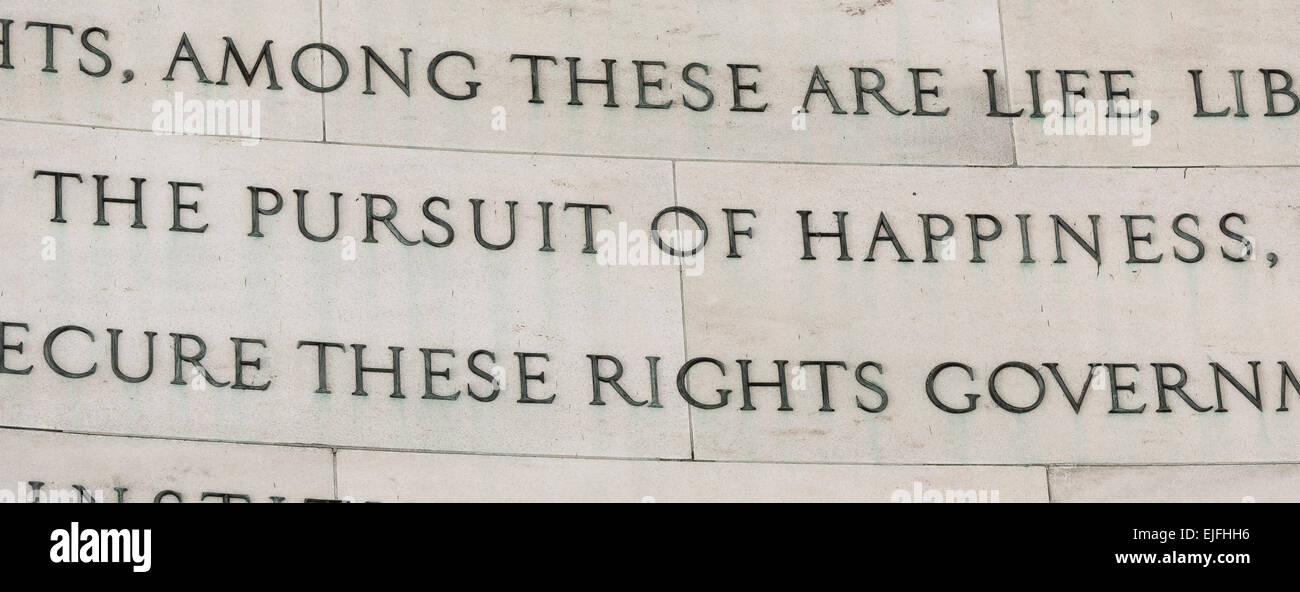 WASHINGTON, DC, USA - Jefferson Memorial, Declaration of Independence excerpt on the pursuit of happiness. - Stock Image