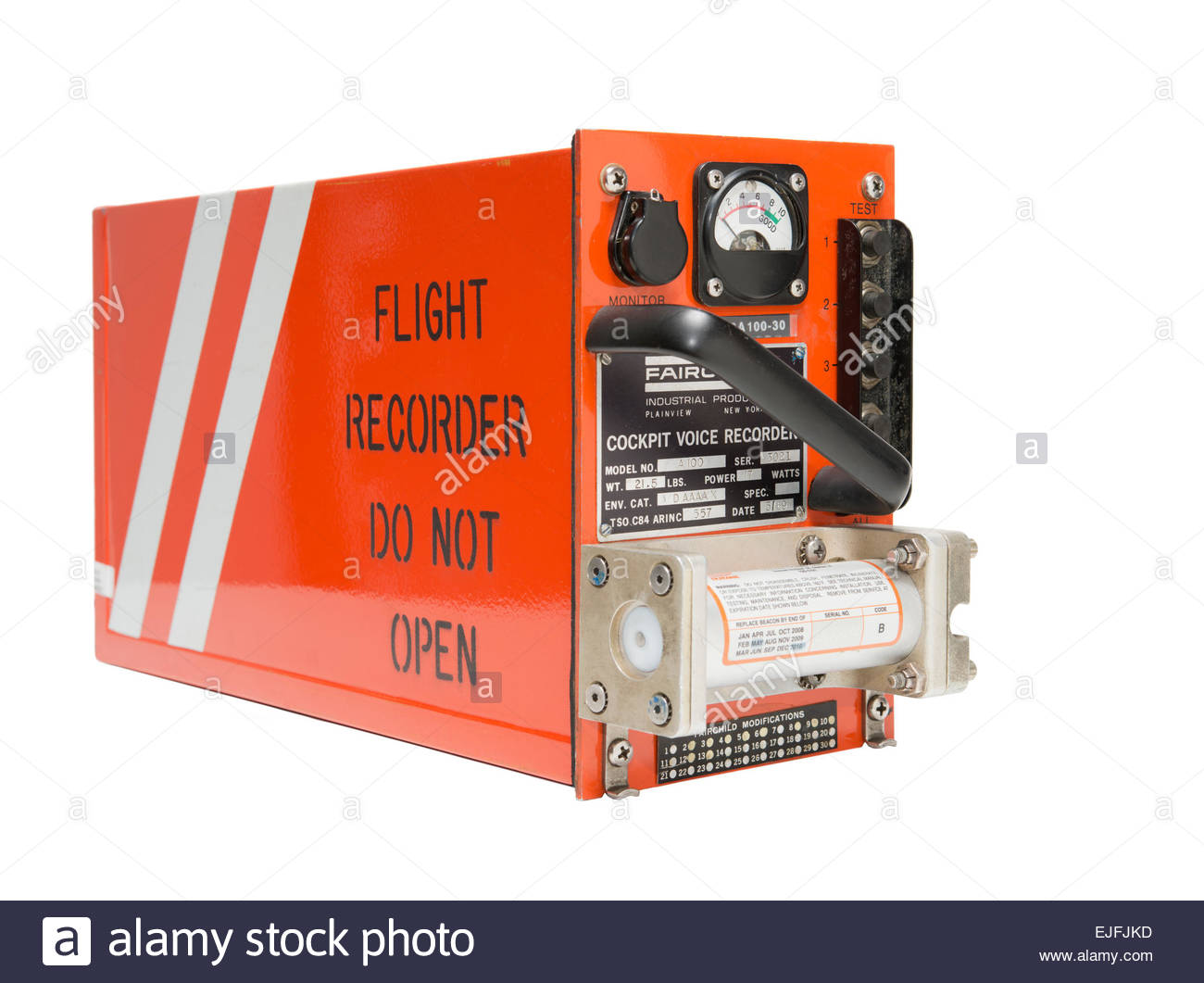 Flight Data Recorder Cockpit Voice Recorder Fairchild A100 the type used on a Boeing 747 Jumbo Jet Airliner dropped - Stock Image