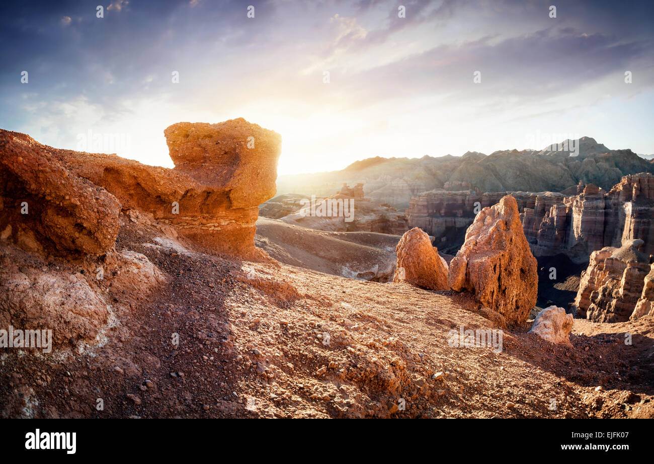 Charyn grand canyon at surise in Kazakhstan - Stock Image