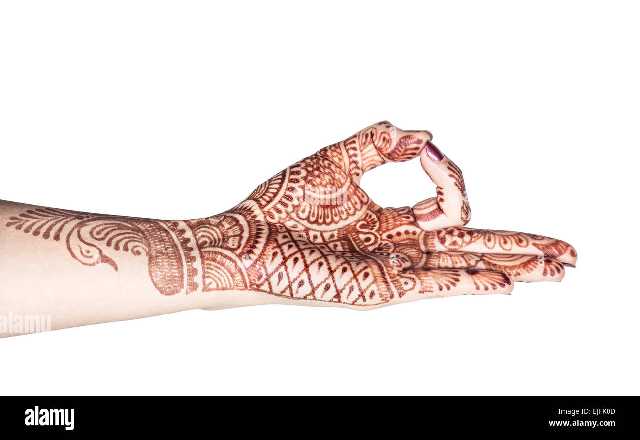 Woman hand with henna doing Dhyana mudra isolated on white background with clipping path - Stock Image