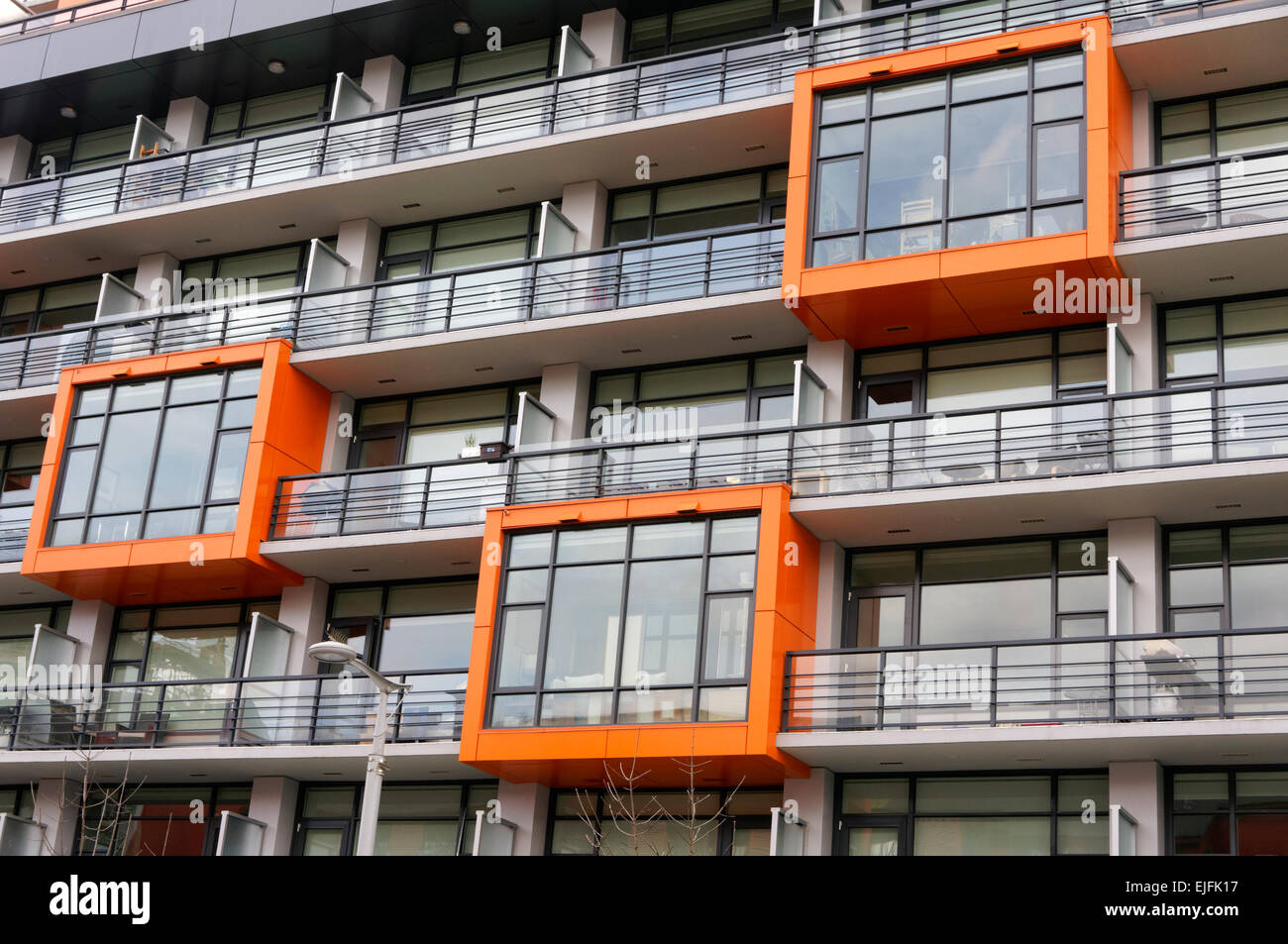 Architectural detail of a modern condominium building in False Creek Village, Vancoover, BC, Canada - Stock Image