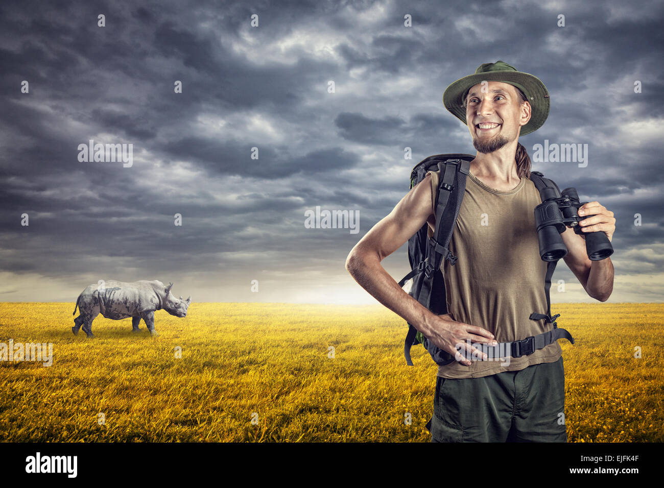 Man with binocular and rhino behind in grassland at sunset overcast sky - Stock Image
