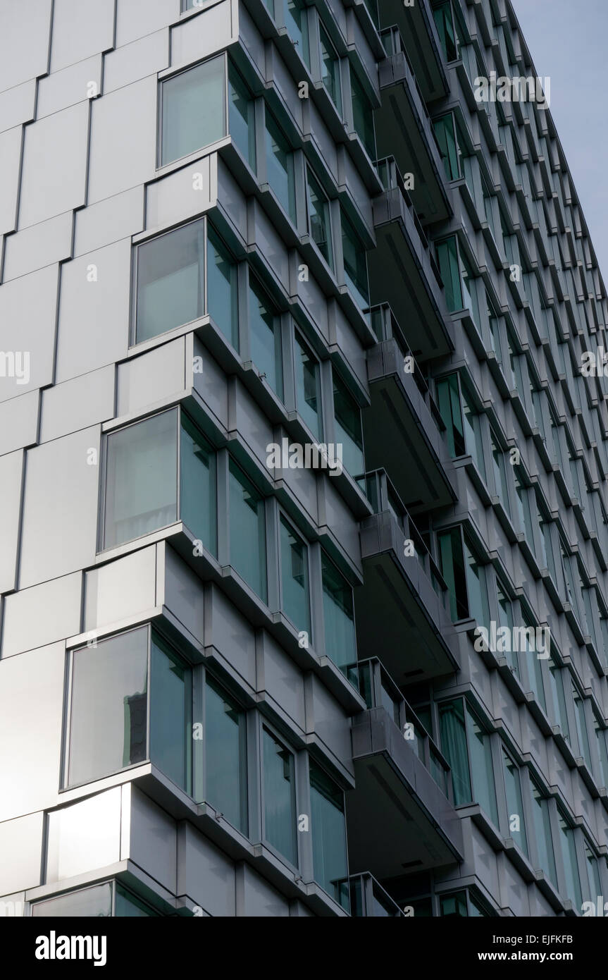 Architectural detail of a modern condominium tower in False Creek Village,, Vancoover, BC, Canada - Stock Image