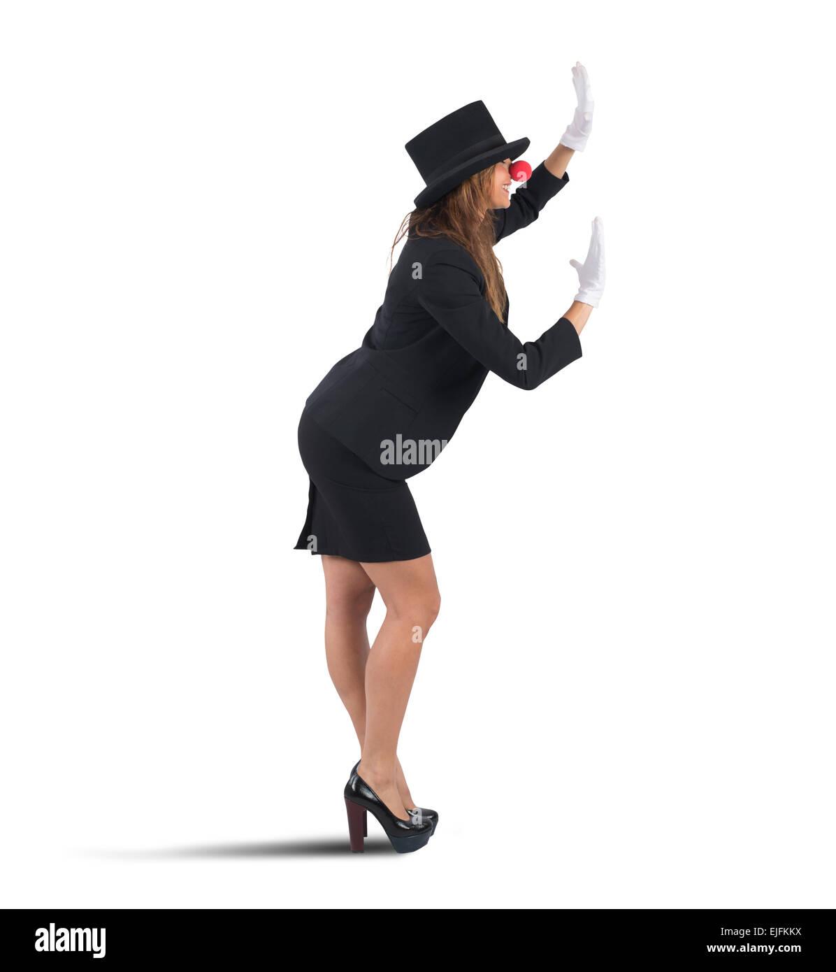Mime businesswoman - Stock Image