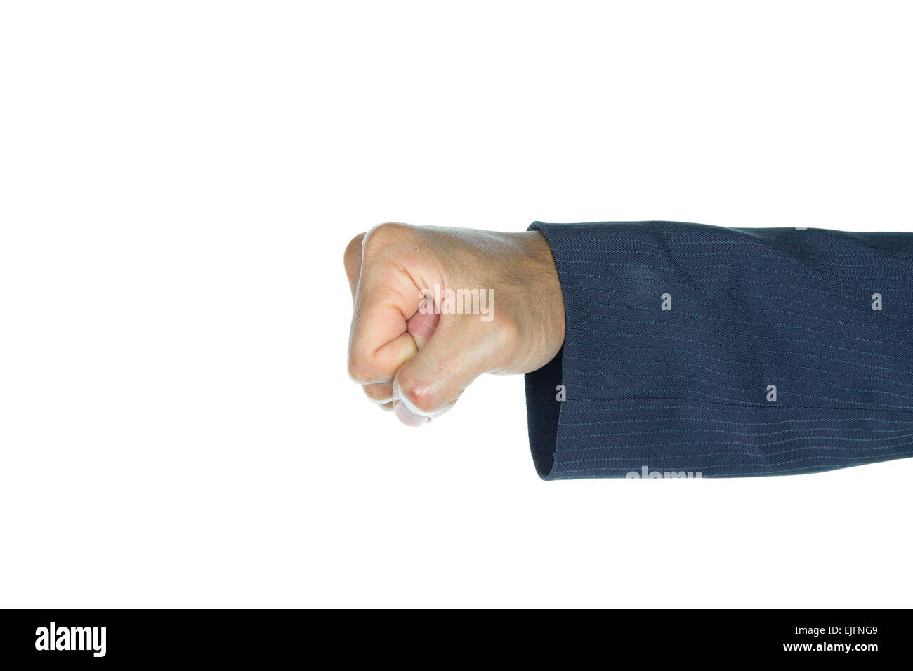 Fist of businessman is punching on white background. Concept about strong and violence and conflict. - Stock Image