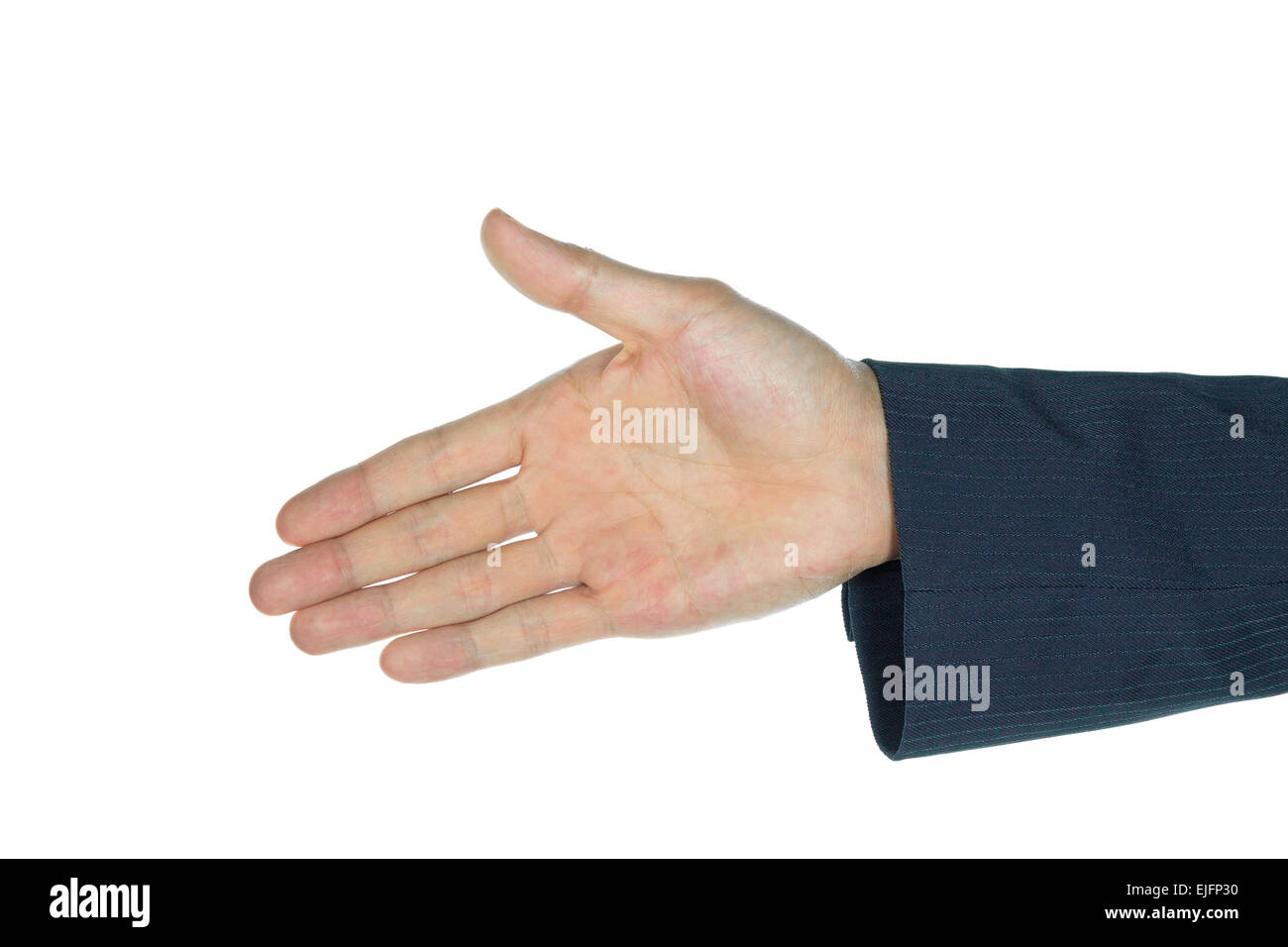 One handshake or palm of businessman on white background. Concept about cooperation in business subject. - Stock Image