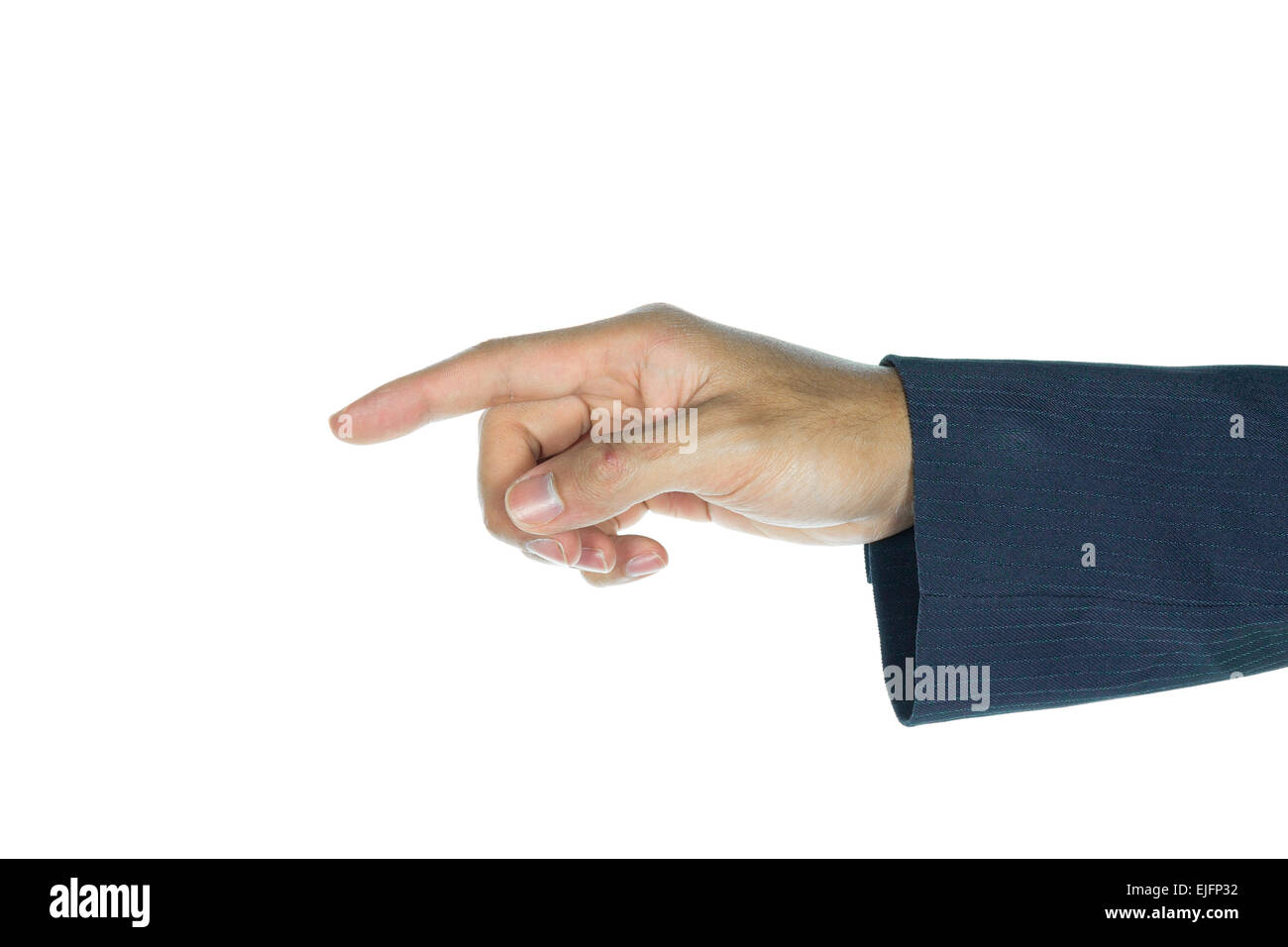 Businessman touching or pushing screen interface on white background. Index finger of businessman is pressing button. Stock Photo