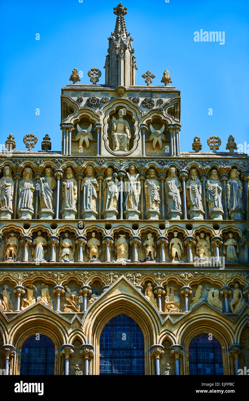 Facade statues of the the medieval Wells Cathedral built in