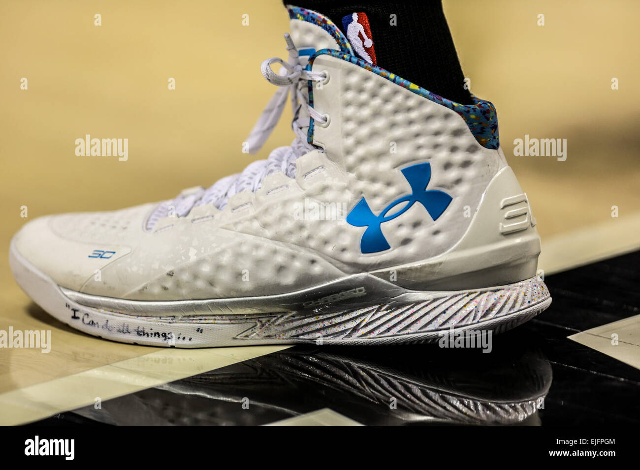 9444a02f2fa STEPHEN CURRY (30) wears his Under Armour signiture shoe   The Curry One  .  The Portland Trail Blazers play the Golden State Warriors at the Moda  Center on ...